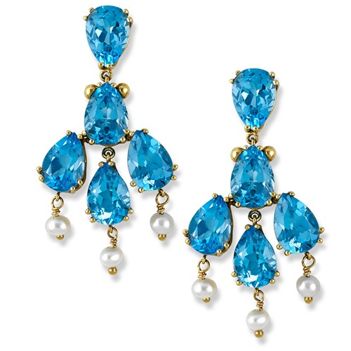 18k Gold Chandelier Earrings with Blue Topaz & Freshwater Pearls