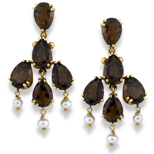 18k Gold Smoky Quartz Chandelier Earrings with Pearl Drops