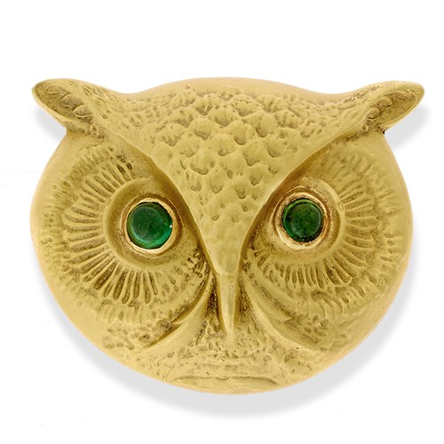 18k Gold Large Owl Pin with Green Tourmaline Cabochon Eyes