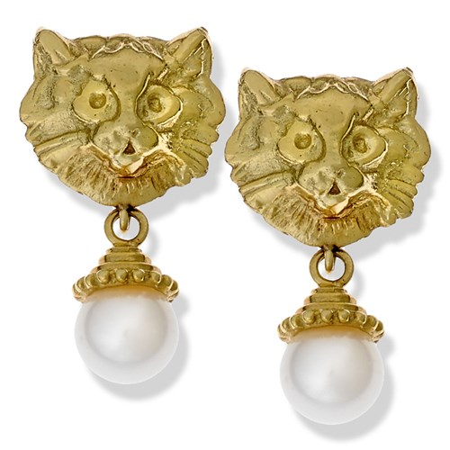 18k Gold French Cat Earrings with Pearl Drop