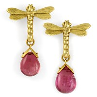 18k Gold Dragonfly Earrings with Pink Tourmaline Drop