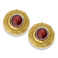 18k Gold Pink Tourmaline Stud Earrings