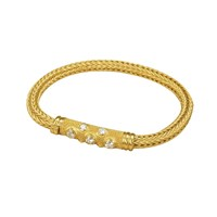 Granulated Gold Bracelet with Diamonds