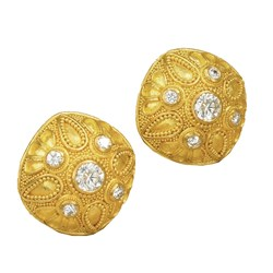 "18k Gold Granulated ""Cushion Dome"" Earrings with Diamonds"