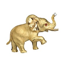 18K Gold Posing Elephant Pin