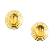 18k Gold Oval Citrine Cabochon Earrings