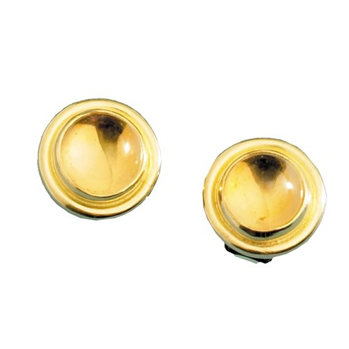 18k Gold Round Citrine Cabochon Earrings