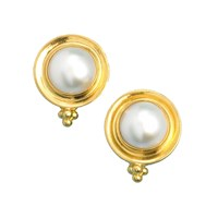 Mabe Pearl & Gold Round Earrings