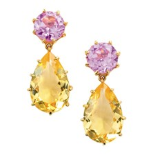 18k Gold Pink Topaz & Citrine Tear Drop Earrings