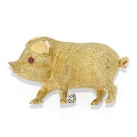 Gold Pig Pin Ruby Eyes Diamond at Foot