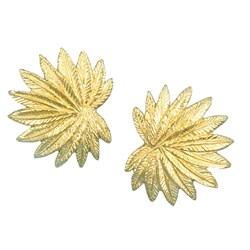 Palm Tree Leaf Gold Earrings Small