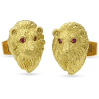 "18k Gold ""Lion Head"" Cufflinks with Ruby Eyes"