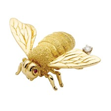 18K Yellow Gold Bee Pin