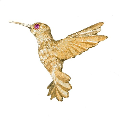 18k Yellow Gold Hummingbird with Ruby Eye Pin