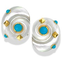 18k Yellow Gold Umbonium Shell Earrings Turquoise