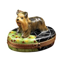 Yorkshire Terrier on Terrace Limoges Box