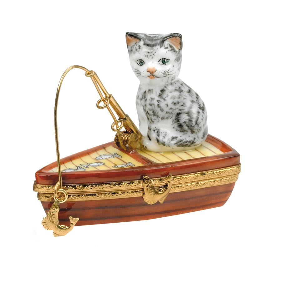 Cat fishing on boat limoges box cat gifts ideas for for Gift ideas for fishing lovers