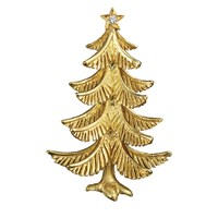 Yellow Gold Christmas Tree Pin with Diamond (.06ct)
