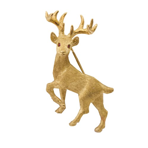 18K Yellow Gold Posing Reindeer Pin with Ruby Eyes