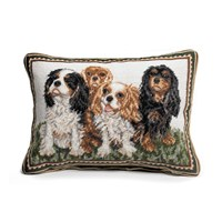 Four King Charles Spaniels Needlepoint Pillow