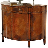 Mahogany and Rosewood Demilune Commode