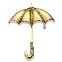 18k Gold Umbrella Pin with Diamond Raindrop