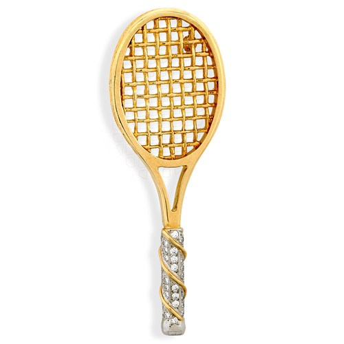 18k Yellow Gold & Diamonds Tennis Racquet Pin