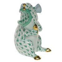 Herend Mouse with Tail in Mouth Figurine