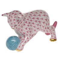 Herend Kitten with Yarn Figurine