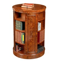 Tall Revolving Elm Round Bookcase