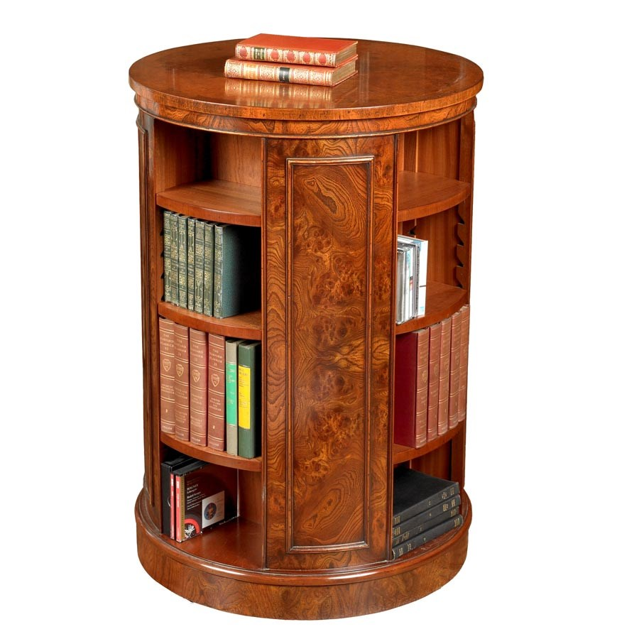 Tall Revolving Elm Round Bookcase Bookcases Cabinets