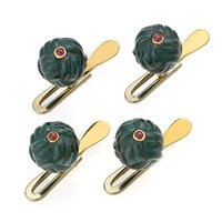 "18k Gold ""Knot"" Studs with Bloodstone & Ruby Center, Set of 4"