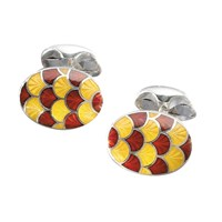 Red & Yellow Domes/Scallops Cufflinks