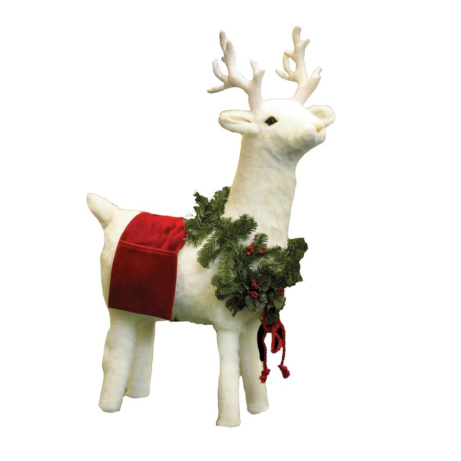 White Reindeer Footrest with Red Trim | Christmas ...