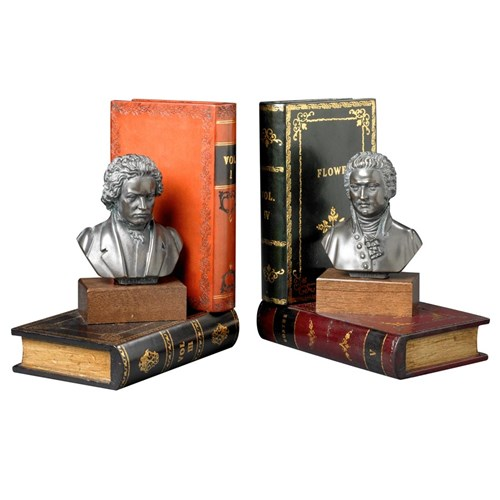 Beethoven & Mozart Leather Bookends