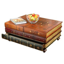 Leather Books Table