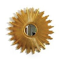 Sunburst Antique Gold Convex Mirror
