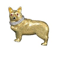 Corgi Pin 18k Ruby Eyes Onyx Nose