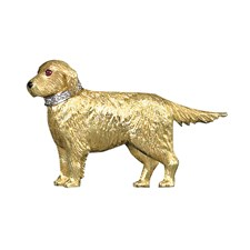 18k Yellow Gold Retriever Pin