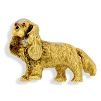 18k Gold Cavalier King Charles Spaniel Pin with Ruby Eyes