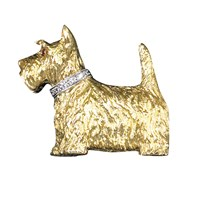 18K Gold Scottish Terrier Pin with Diamonds