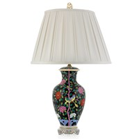 Herend Lamp with Birds & Flowers, Black