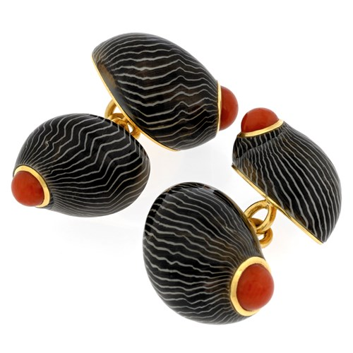 18k Gold Neritina Zebra Shell Cufflinks with Red Coral Center