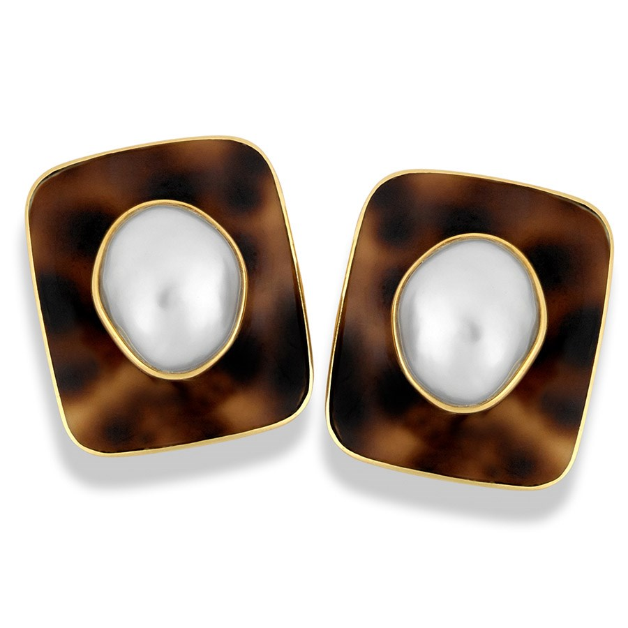 Cowrie Shell Earrings Baroque Pearls Hover To Zoom