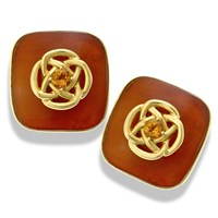 18k Gold Horn Cushion Earrings with Gold Knot & Citrine Center