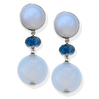 18k White Gold Blue Chalcedony Drop Earrings