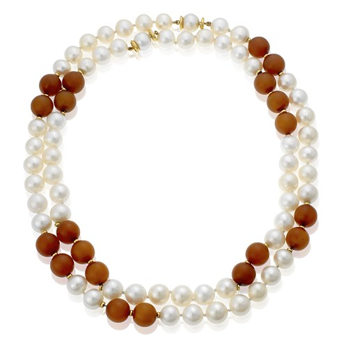 Freshwater Pearl & Horn Necklaces, Set of 2