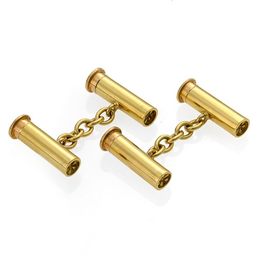 "18k Gold ""Shotgun Cartridge"" Cufflinks"