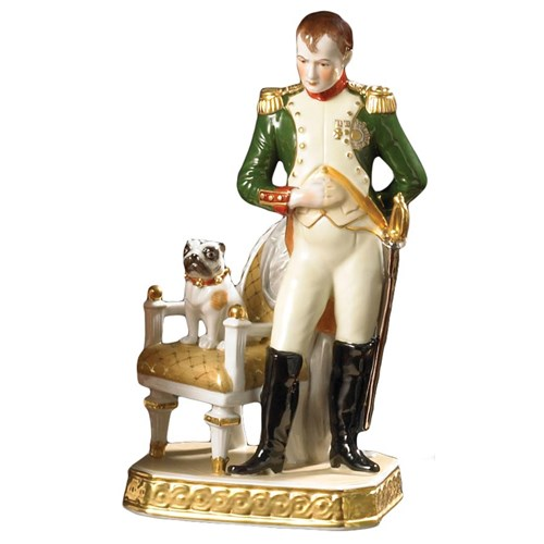 Porcelain Figurine Napoleon Pug Chair