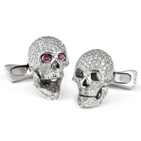18k White Gold and Diamond Skull Cufflinks